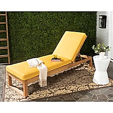 image of safavieh solano sun lounger with cushion in teak brownyellow