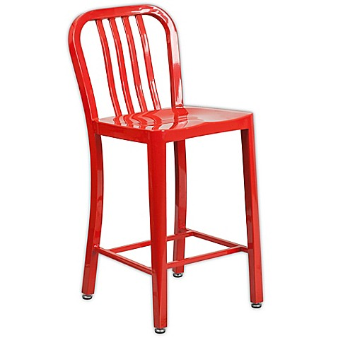 Buy Flash Furniture 24 Inch Metal Stool With Back In Red
