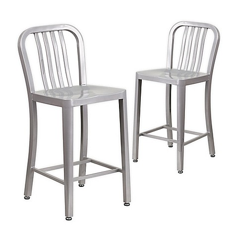 Flash Furniture 24 Inch Metal Stool With Back Set Of 2
