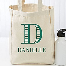 image of Striped Monogram Petite Tote Bag