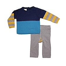 image of Cuddl Duds® 2-Piece Colorblock Sweater and Pant Set in Blue/Grey