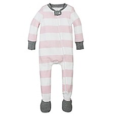 image of Burt's Bees Baby® Rugby Stripe Organic Cotton Footed Pajama in Pink