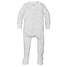 image of Burt's Bees Baby® Alphabet Bee Organic Cotton Footed Pajama in Grey