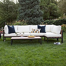 Walker Edison Modern 4 Piece Outdoor Patio Conversation Set