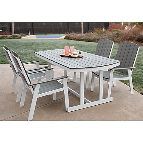 Forest Gate Coastal Outdoor 5-Piece Dining Set in Grey/White