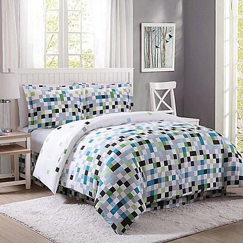 Pixel comforter set in green grey bed bath beyond - Green pixel bedding ...