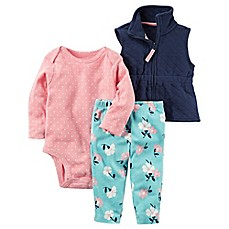 image of carter's® 3-Piece Quilted Vest, Bodysuit, and Pant Set in Navy/Pink