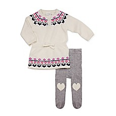 image of Cuddl Duds® 2-Piece Fair Isle Sweater Dress and Footed Pant Set