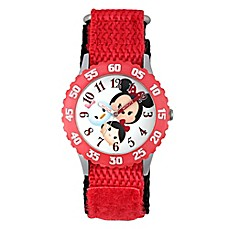 image of Disney® Tsum Tsum Children's 32mm Time Teacher Watch in Stainless Steel with Red Nylon Strap