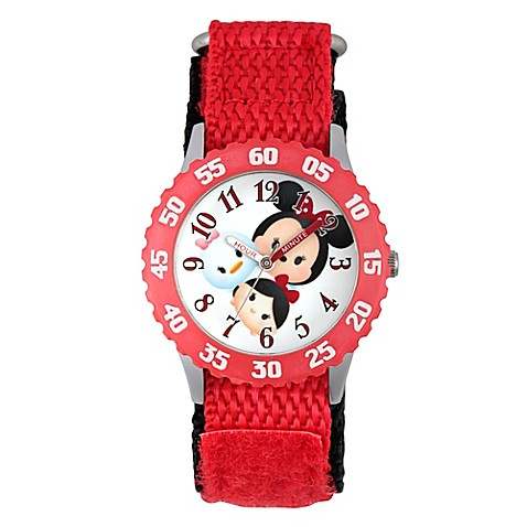 Disney tsum tsum children 39 s 32mm time teacher watch in stainless steel with red nylon strap for Tsum tsum watch
