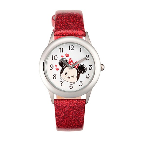 Disney tsum tsum children 39 s 32mm time teacher watch in stainless steel with red leather strap for Tsum tsum watch