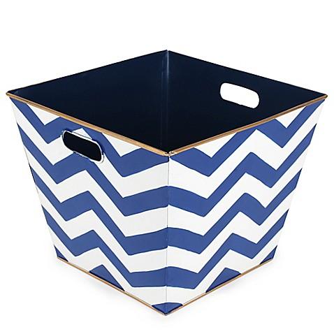 Jayes studio chevron storage bin bed bath beyond for Navy bathroom bin