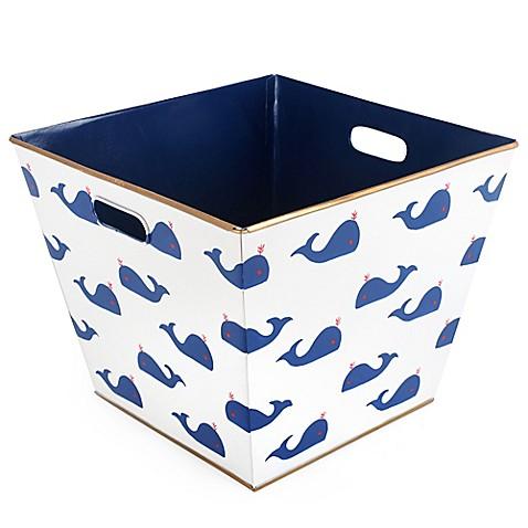 Jayes studio whales storage bin in navy bed bath beyond for Navy bathroom bin