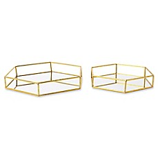 image of Kate and Laurel Felicia Mirrored Nesting Accent Trays in Gold