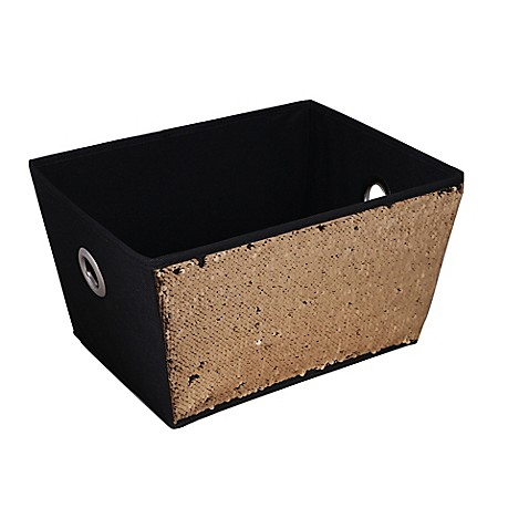 Buy home basics large sequined storage bin in gold black for Gold bathroom bin