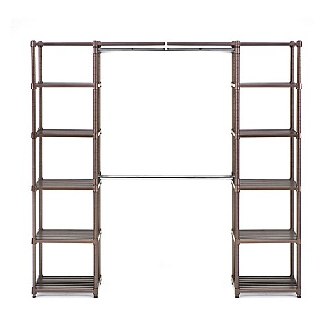 Seville Classics Expandable Closet Organizer System In Resin Cocoa