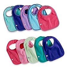 image of 10-Pack Waterproof Multicolor Girl's Bibs