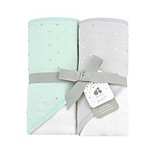 image of Just Born Sparkle Mint Green 2- Pack Hooded Towel Set