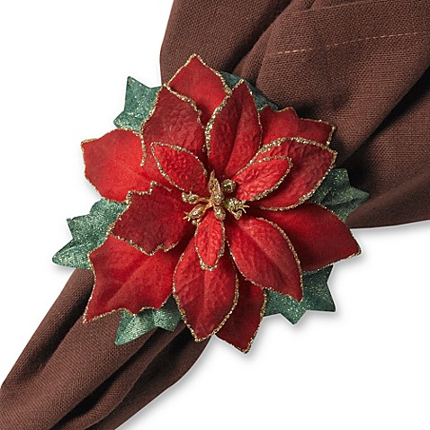 Poinsettia Napkin Rings Set Of 4 Bed Bath Amp Beyond