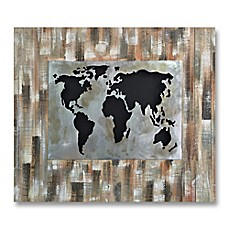 image of World Revealed 41-Inch x 47-Inch Metal/Wood Wall Art