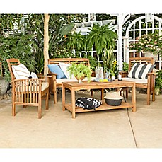 image of Forest Gate Eagleton Patio 4-Piece Acacia Wood Conversation Set with Beige Cushions