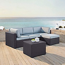 image of Crosley Biscayne 4-Piece Resin Wicker Sectional Set with Cushions