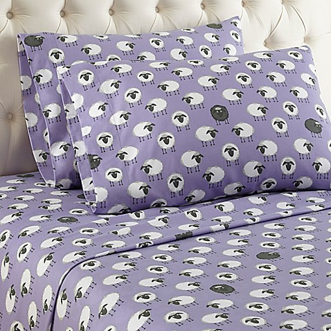 Buy Micro Flannel 174 Sheep Print Queen Sheet Set In Lavender