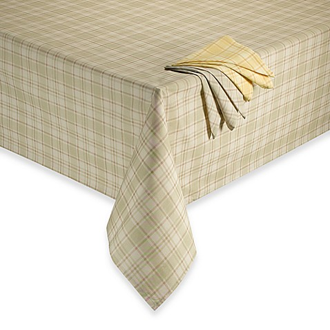 Charming Tuscan Plaid Laminated Fabric Tablecloth