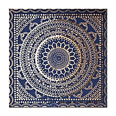 image of Embellished Ink Fabric 31-Inch Square Canvas Wall Art in Blue