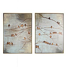 image of Flock of Birds 20-Inch x 28-Inch Handpainted Canvas Wall Art (Set of 2)