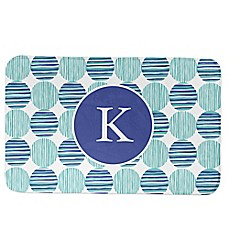 image of Designs Direct Preppy Locking Circles Bath Mat in Blue