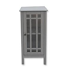Bathroom Floor Cabinet With Glass Door In Grey