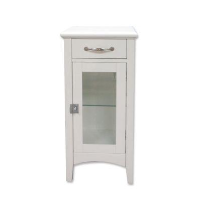 1 drawer bathroom floor cabinet with glass door in white - Bathroom Floor Cabinet