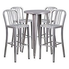 image of flash furniture 5piece round metal bar table and stools set
