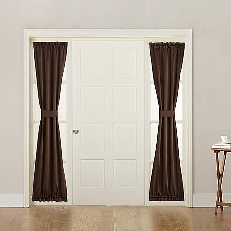 buy sun zero bella 72 inch rod pocket room darkening sidelight door panel in chocolate from bed. Black Bedroom Furniture Sets. Home Design Ideas