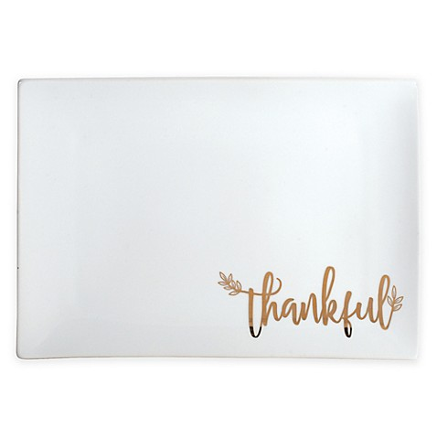 "Everyday White® by Fitz and Floyd® ""Thankful"" Rectangular Serving Tray in White"