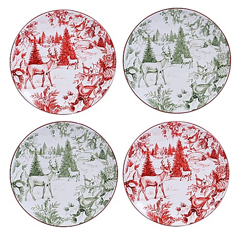 Certified International Winter Field Notes Toile Dessert Plates in Red (Set of 4)  sc 1 st  Bed Bath u0026 Beyond & Certified International Winter Field Notes Toile Dessert Plates in ...