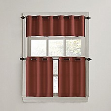 918 montego casual textured grommet kitchen window curtain tiers and valance - Tier Curtains