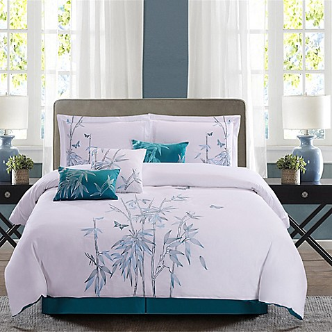 Panama jack bamboo 7 piece reversible comforter set in for Matching bedroom and bathroom sets