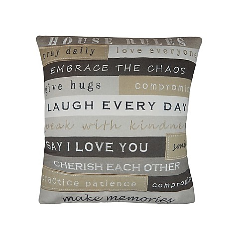 House Rules Embroidered Square Throw Pillow in Grey - Bed ...