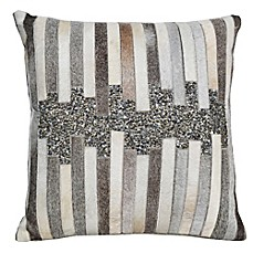 image of Sequined Hide Square Throw Pillow in Grey