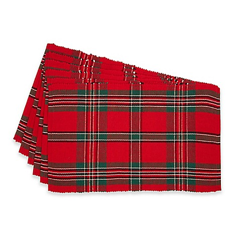 Design Imports Holiday Plaid Placemats Set Of 6 Bed