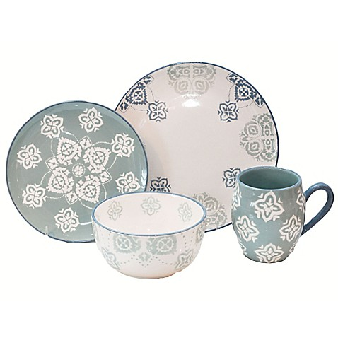 Baum Painterly 16-Piece Dinnerware Set in Turquoise - Bed Bath & Beyond