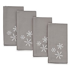 image of ED Ellen DeGeneres Embroidered Snowflake Napkins (Set of 4)