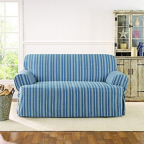 sure fit grain sack stripe t loveseat slipcover bed