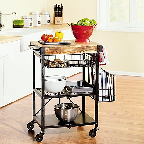 Buy artesa folding kitchen cart with baskets in black from for Collapsible kitchen cart