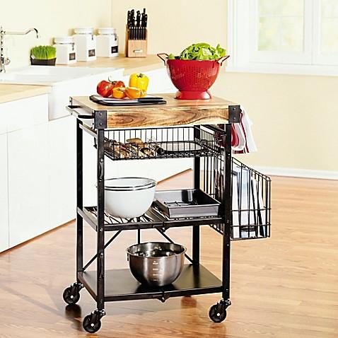 buy artesa folding kitchen cart with baskets in black from. Black Bedroom Furniture Sets. Home Design Ideas