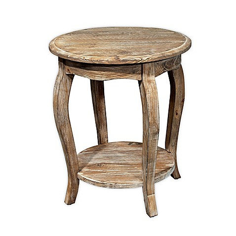 Alaterre Rustic Round End Table In Driftwood Bed Bath