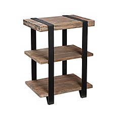 image of Modesto Metal and Reclaimed Wood 2-Shelf End Table