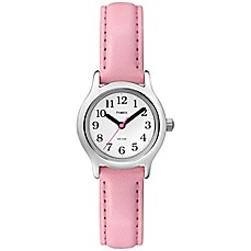 image of Timex® Children's 24mm My First Easy Reader Watch with Pink Faux Leather Strap